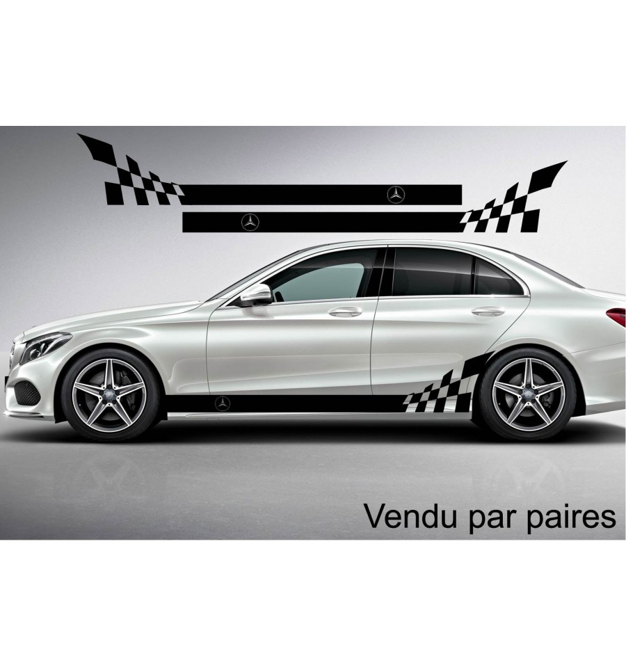 kit stickers bandes lat rales damier grand logo mercedes. Black Bedroom Furniture Sets. Home Design Ideas