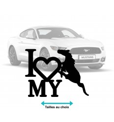 Stickers autocollant I Love Mustang