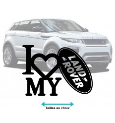 Stickers autocollant I Love Land Rover