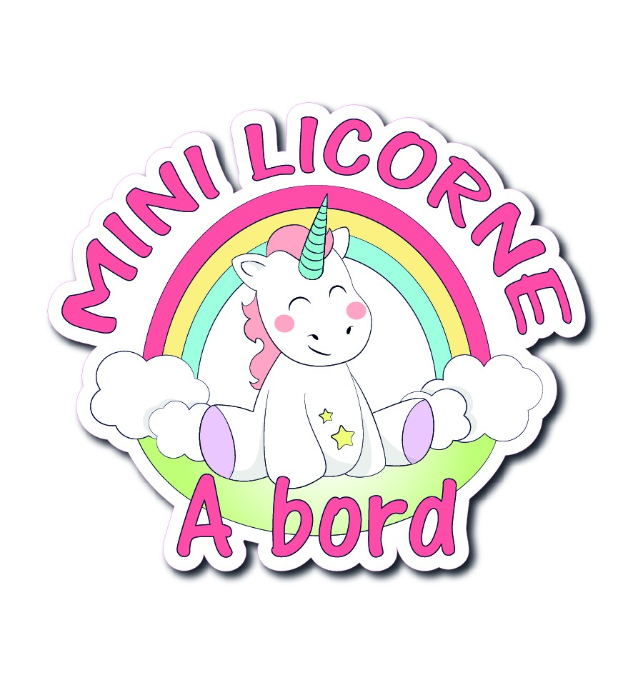 Stickers bébé à bord mini licorne