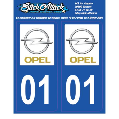 2x Stickers plaque Opel 01