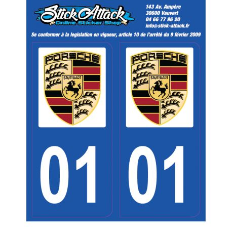 2x Stickers plaque Porsche 01