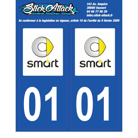 2x Stickers plaque Smart 01