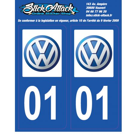 2x Stickers plaque VW 01