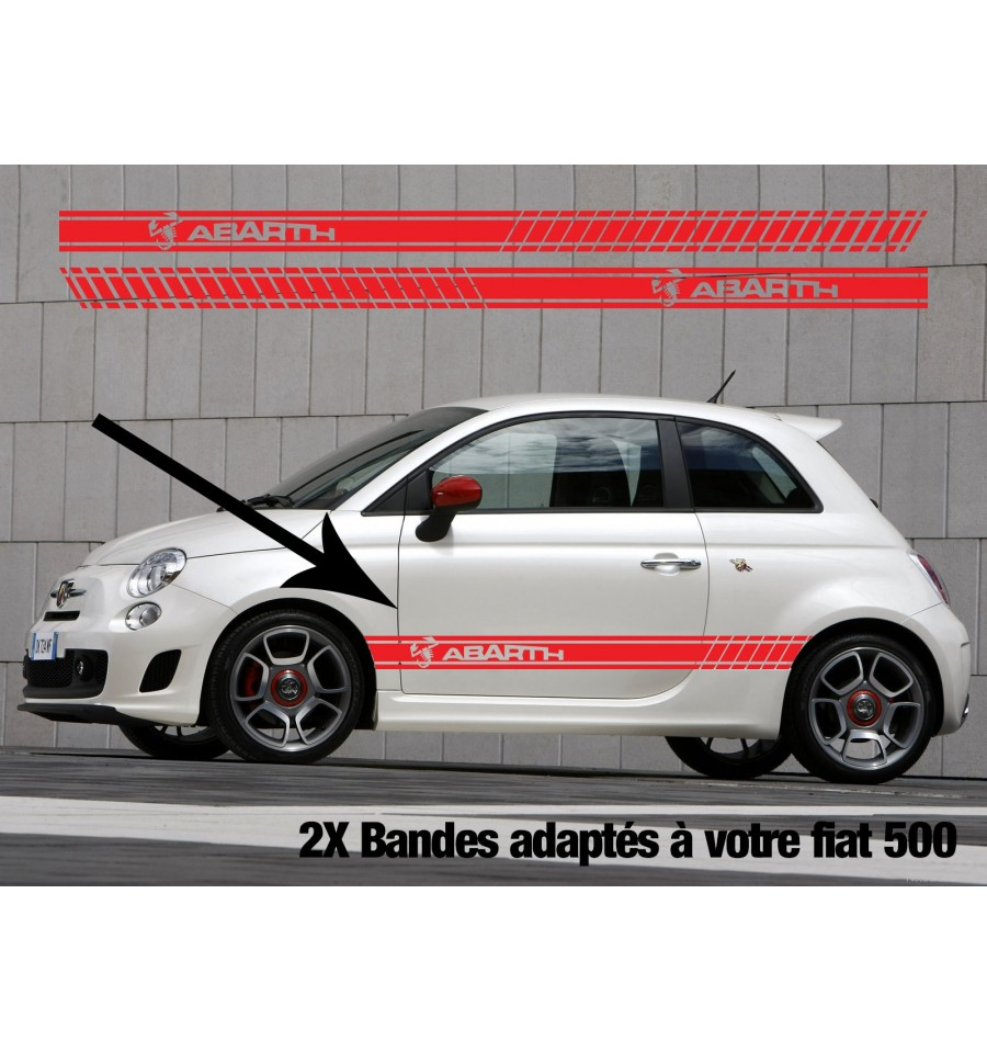kit stickers bandes fiat 500 abarth logo lettrage. Black Bedroom Furniture Sets. Home Design Ideas